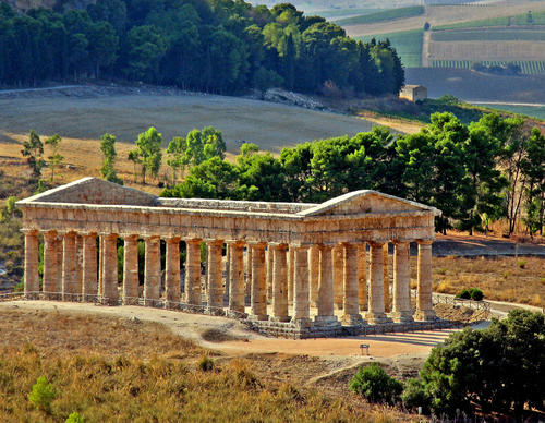 The temple at Segesta, thought to date from the 5th century BC, was built by the ancient Elymians, whose language and origin remain a mystery.
