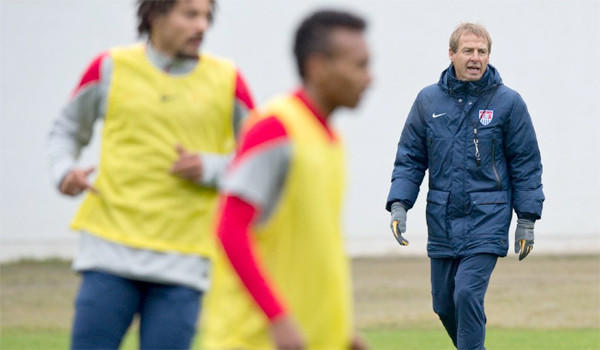 Coach Juergen Klinsmann leads a training session for the U.S. men's national team in Frankfurt, Germany on Monday. The U.S. team will face Ukraine in Cyprus on Wednesday.