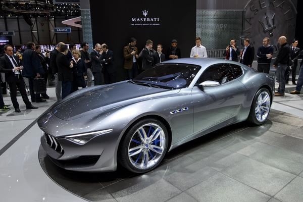 The new Maserati Alfieri concept car on display Tuesday at the Geneva Motor Show.
