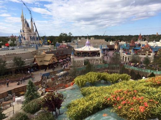 View from the top of the Seven Dwarfs Mine Train at Magic Kingdom.