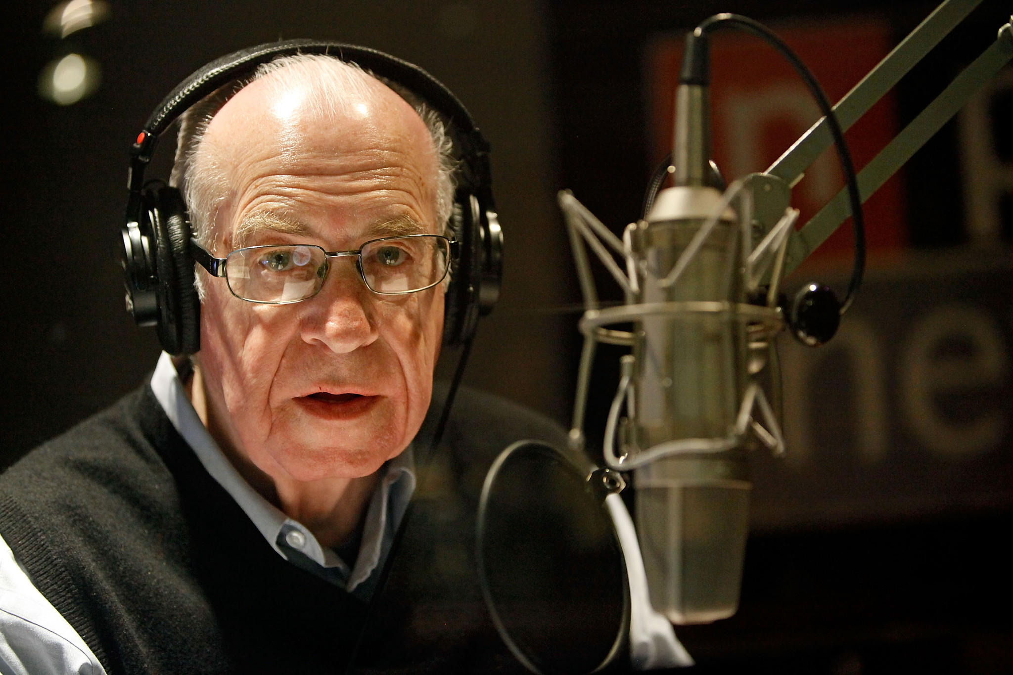 National Public Radio's Carl Kasell delivers one of his last newscasts during the Morning Edition program at NPR.