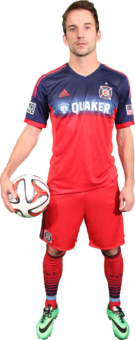 Fire forward Mike Magee models the team's new uniform.