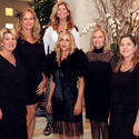 "In classic black garbs, Kim Koslow, front left, Elle DuPree, Lynn Gentithes and Linda Kane; Lavinia Baker, back left, and Mo Maynor prepare for the sixth annual ""Gratitude House Gala,"" to take place March 29 at 6 p.m. at the Four Seasons Resort in Manalapan."