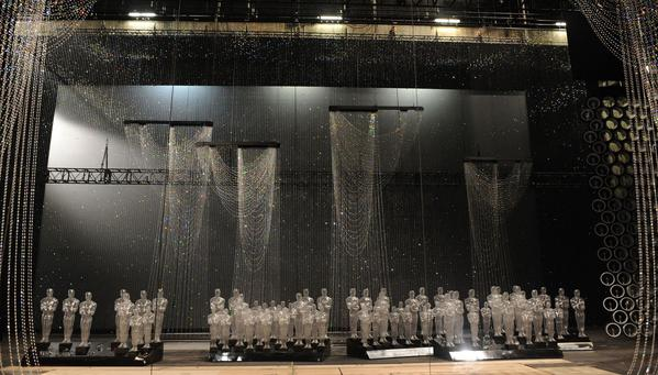 At the 86th Academy Awards presentation, the stage at the Dolby Theatre in Hollywood sparkles with drapes made using Swarovski crystals.