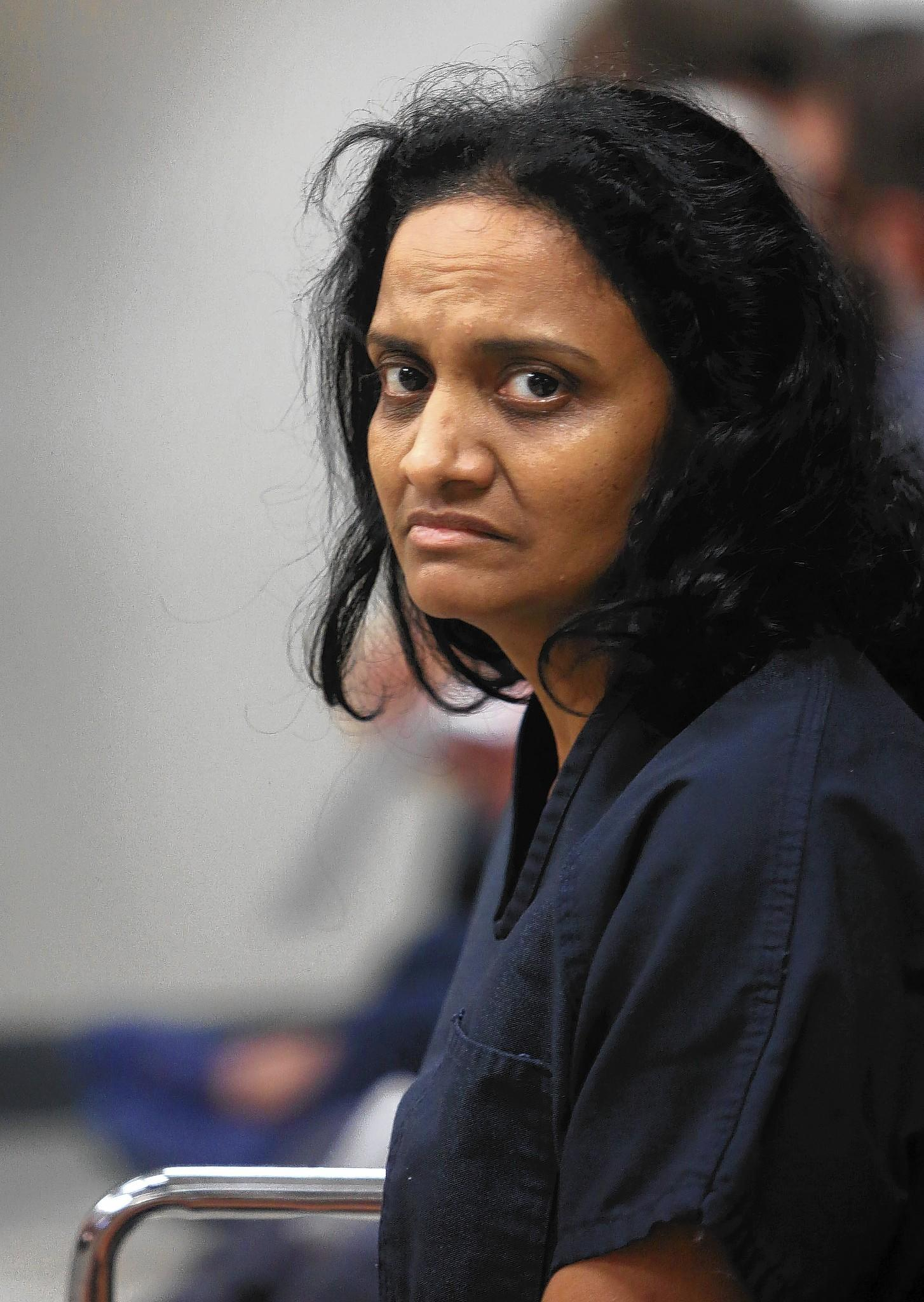 Sujatha Guduru during her first appearance hearing at the Seminole County jail on Friday, January 30, 2014. The Oviedo mom accused of killing her 17-year-old daughter in a failed homicide-suicide attempt Monday.