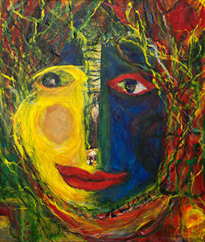 """Autumn,"" a painting by Carole Grubitz, part of her exhibition, ""Our Faces, Our Worlds,"" at the Noah Webster Library."