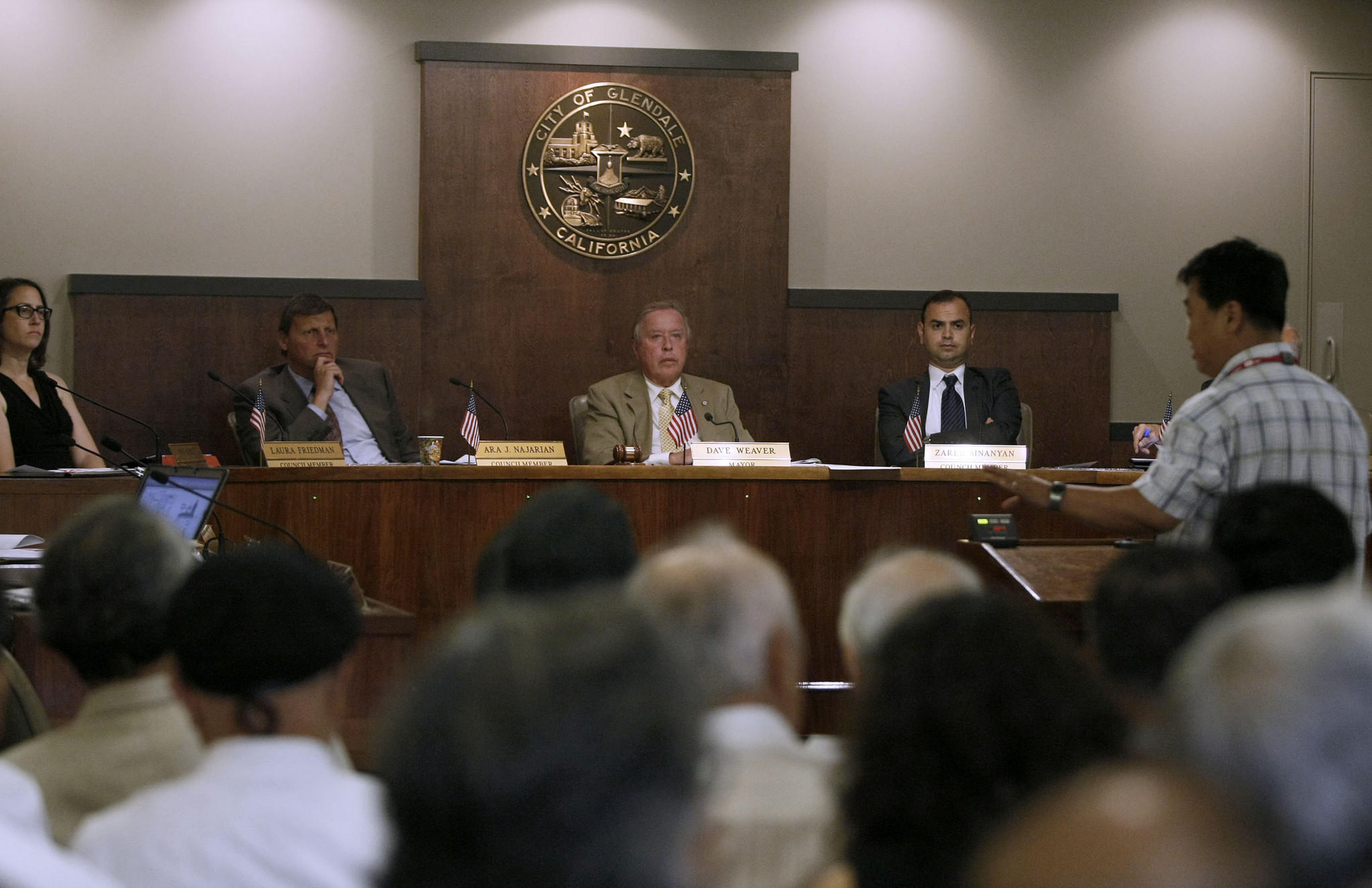 A member of the public motions as he speaks on the topic of the comfort-women statue to the Glendale City Council at Glendale City Hall on Tuesday, July 9; 2013.