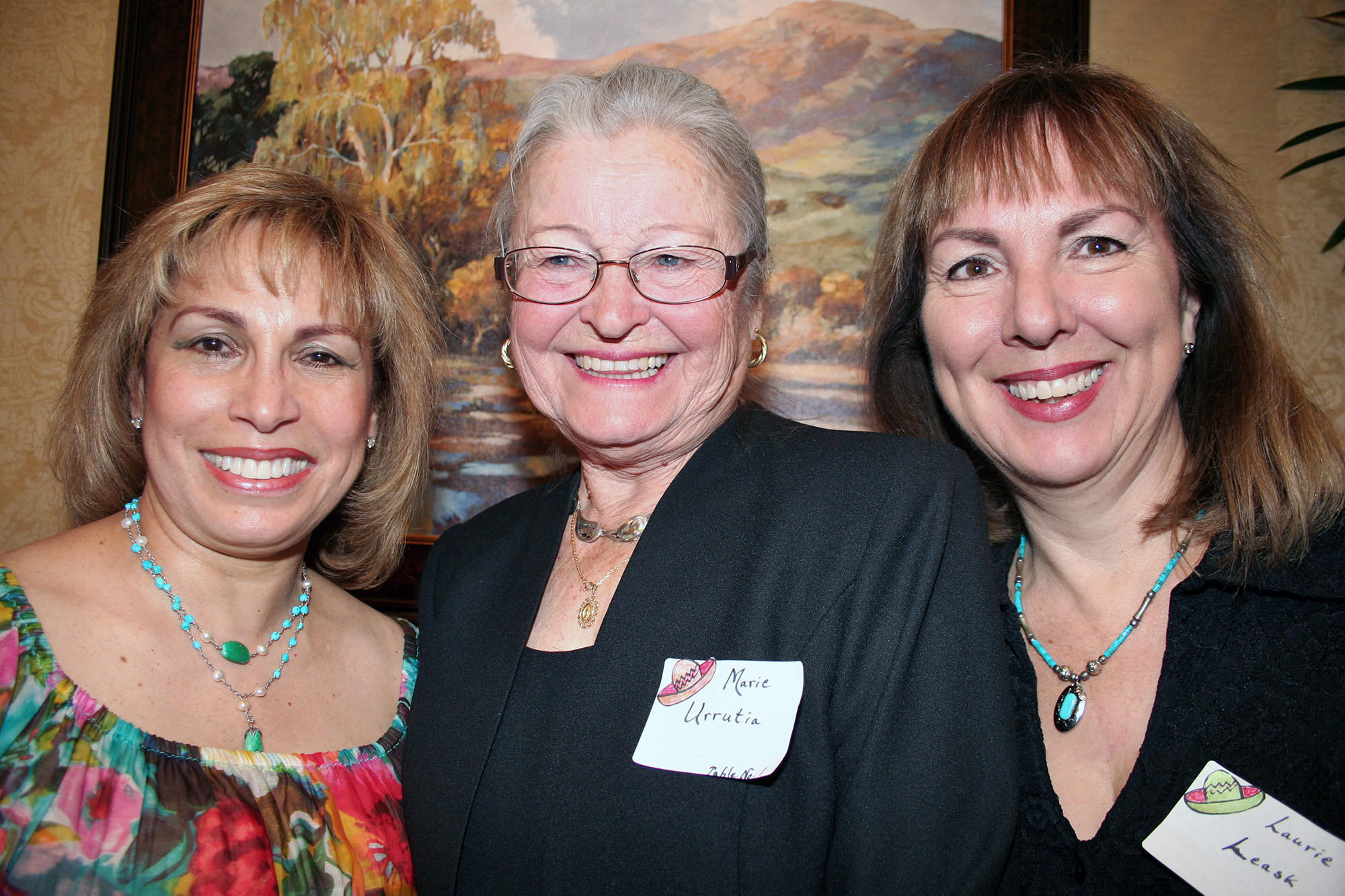 "The Cabrini Literary Guild went ""South of the Border"" at their fundraiser event, organized by event chairs, at left, Miryam Finkelberg and Laurie Leask surrounding President Marie Urrutia."