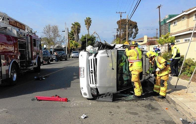 A Costa Mesa man was extracted from his vehicle Tuesday afternoon after it rolled over onto the intersection near Pomona Avenue and Weelo Drive in Costa Mesa. The man was taken to an area hospital for minor injuries.