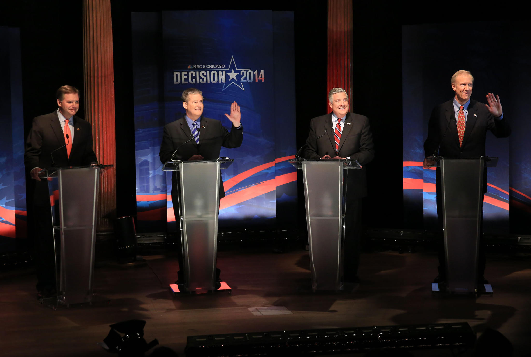 Republican candidates for governor of Illinois, from left to right, Bill Brady, Dan Rutherford, Kirk Dillard, and Bruce Rauner prepare to speak a a public form at the David and Reva Logan Center for the Arts at the University of Chicago in Chicago on Tuesday.