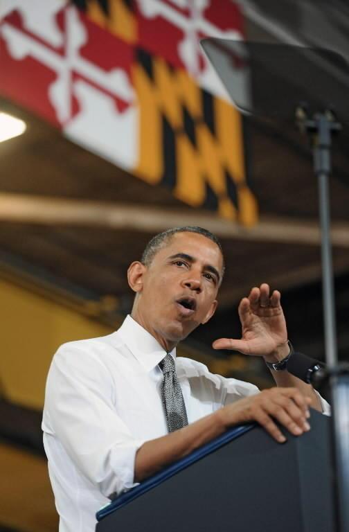 President Barack Obama speaks in Baltimore in May.