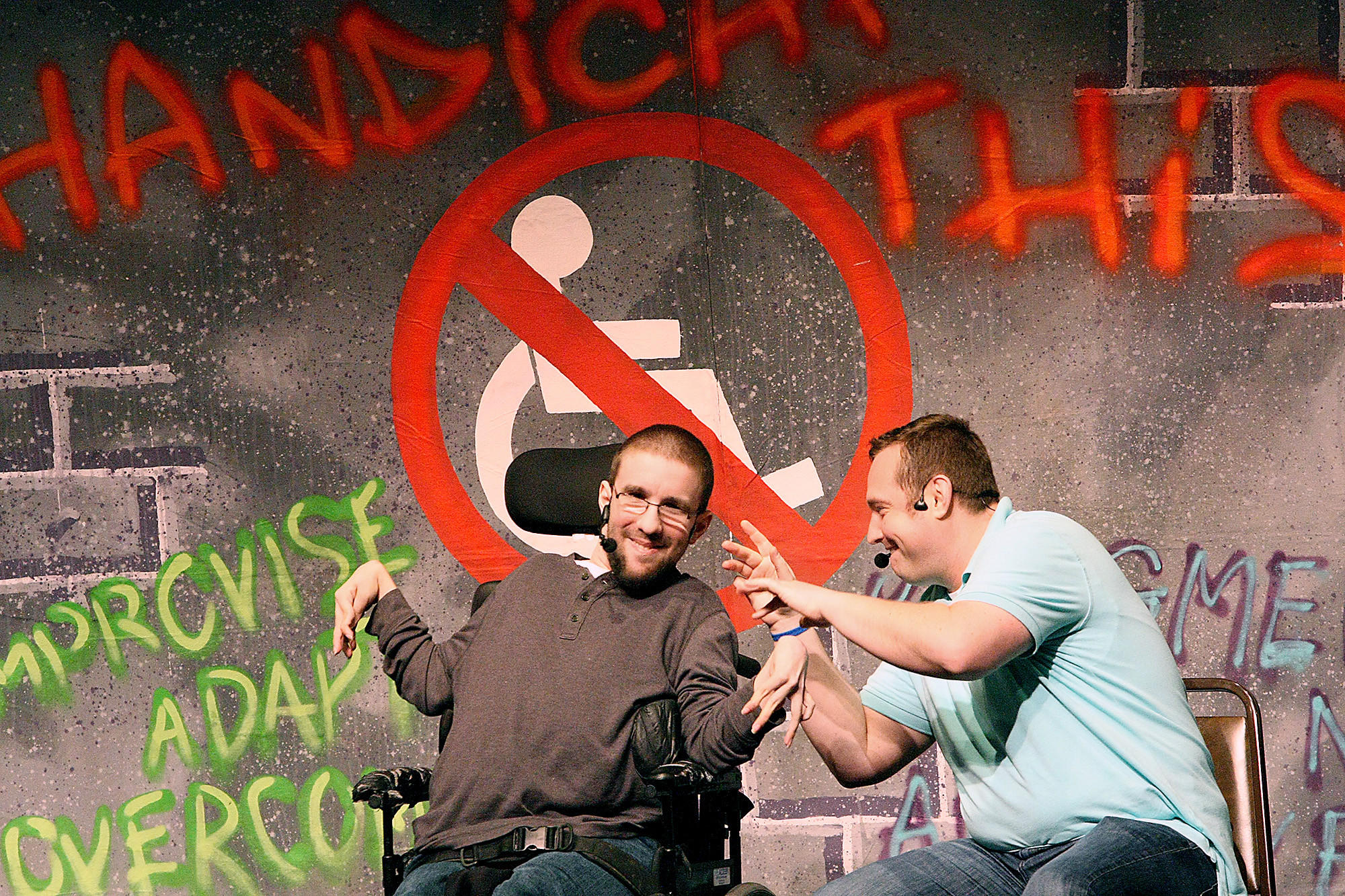 "Mike Berkson and Tim Wambach talk about their lives together during a showing of their play ""Handicap This!"" at Glendale Community College on Monday, March 2, 2014."