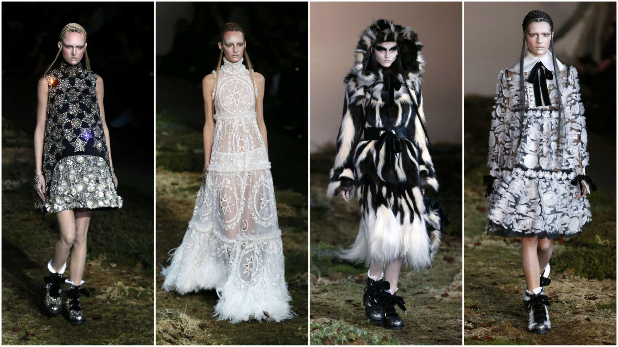 Looks from the Alexander McQueen fall and winter 2014 runway collection, presented on Tuesday during Paris Fashion Week.