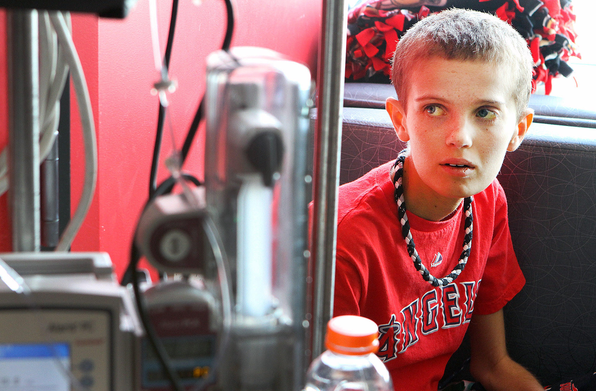 Christopher Wilke, 12, of Burbank, is at Children's Hospital Los Angeles for treatment of a rare disease he is battling on Monday, March 3, 2014. The disease is a a bile duct cancer that is rare for adults, and nearly unheard of for children.