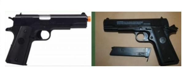 Left manufacturers picture of airsoft pistol, right, evidence photo of Robert Striffler's pistol