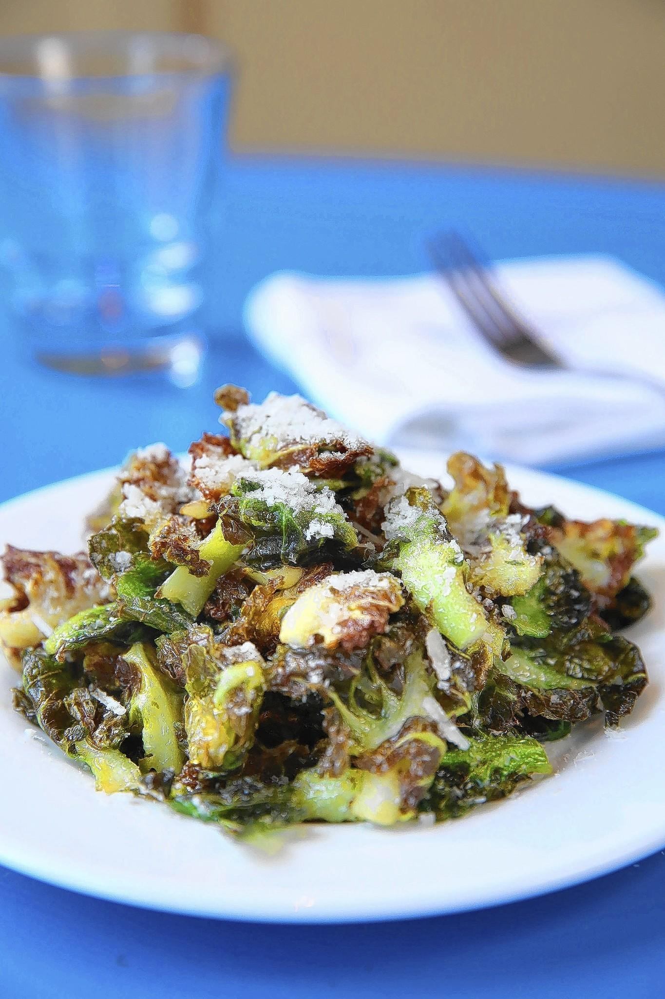 Crispy brussels sprouts with pecorino at Azzurra restaurant in Chicago's Wicker Park neighborhood.