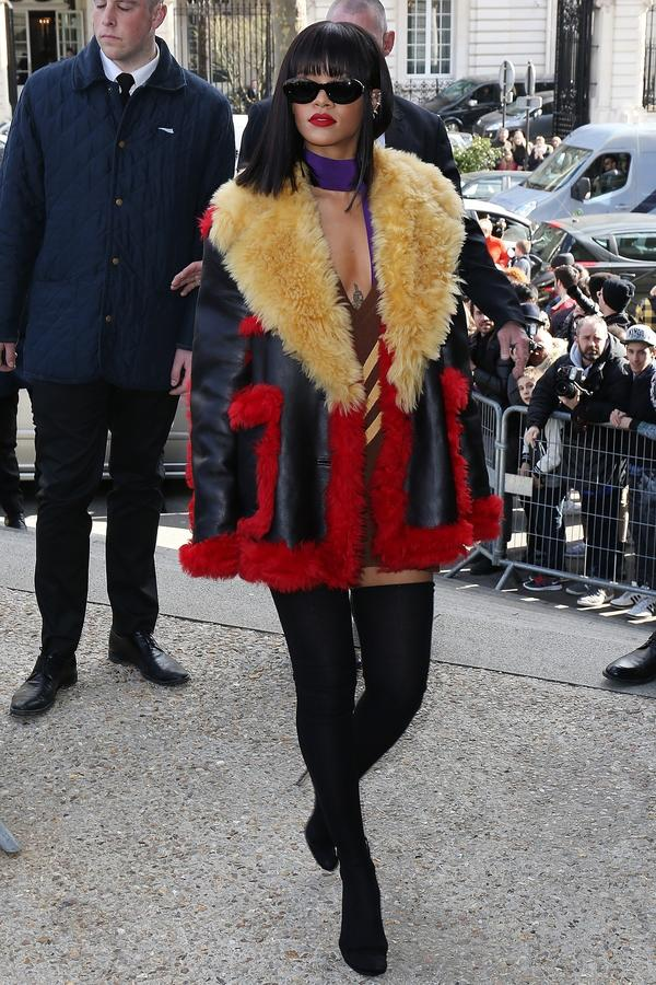 Rihanna attends the Miu Miu show during Paris Fashion Week.