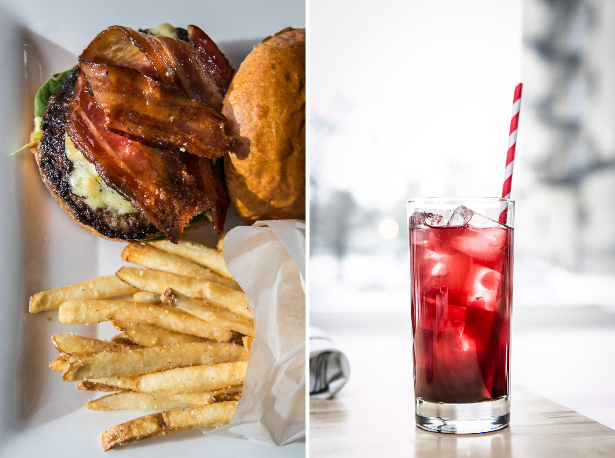 The Amish B&B burger with fries and Dark Cherry spritz at Spritz Burger