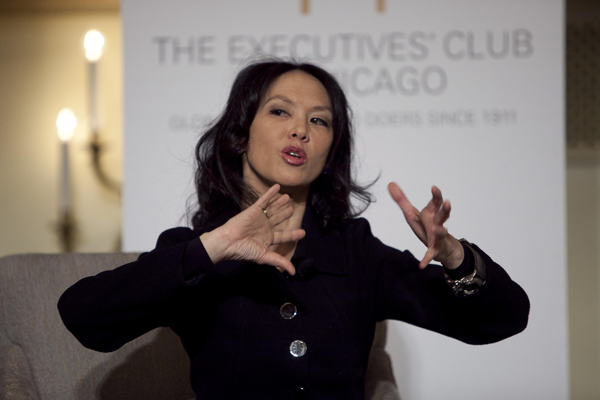 Amy Chua, author of 'Battle Hymn of the Tiger Mother,' talks to members of the Executives' Club of Chicago at the Palmer House Hilton March 5, 2014 in Chicago Ill.