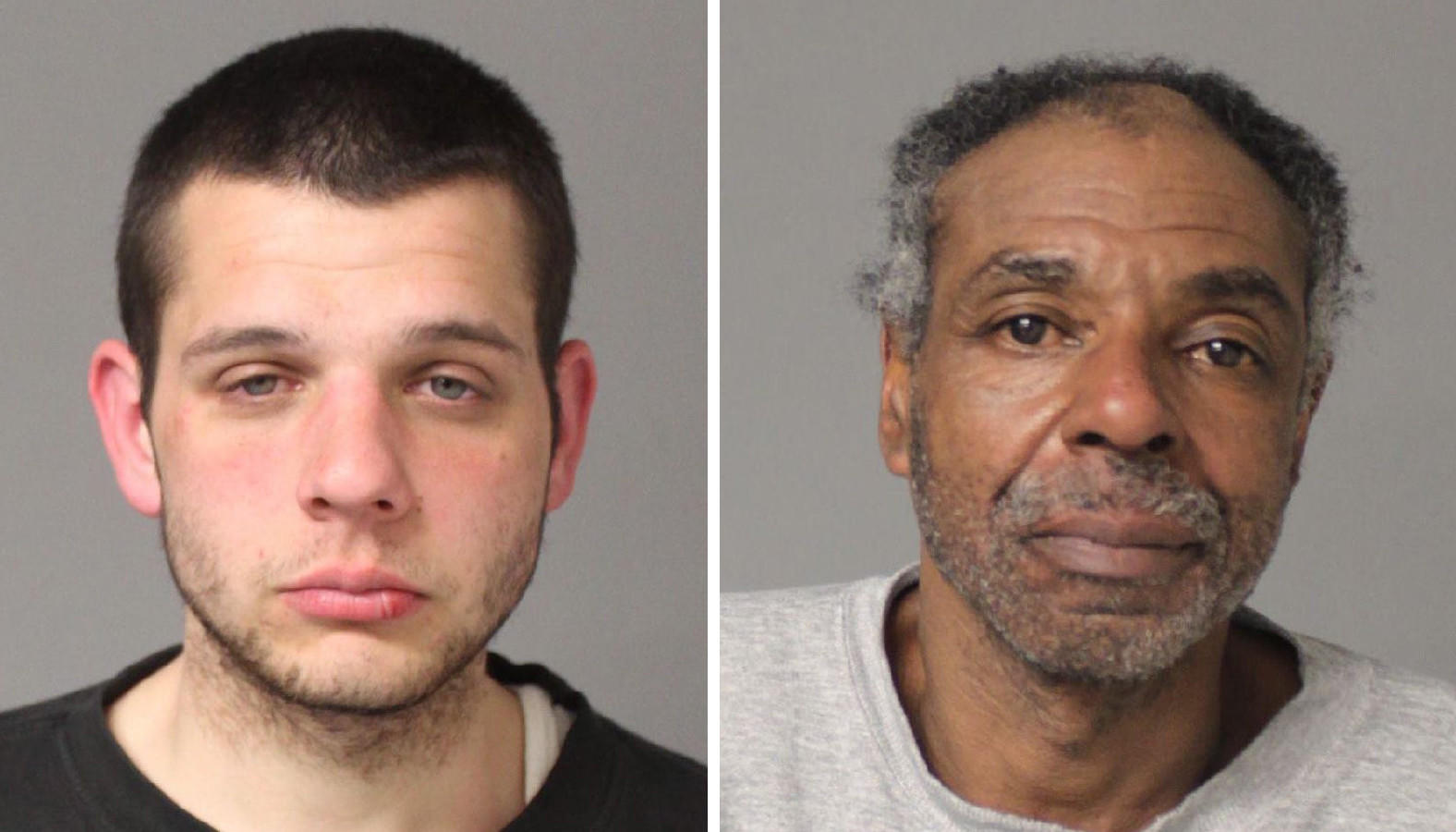 Anne Arundel County Police say Phillip Douglas Ponta, 24, left, and Elliott Johnson, 58, were arrested early Wednesday during a traffic stop and charged with various violations regarding possession of controlled dangerous substances.