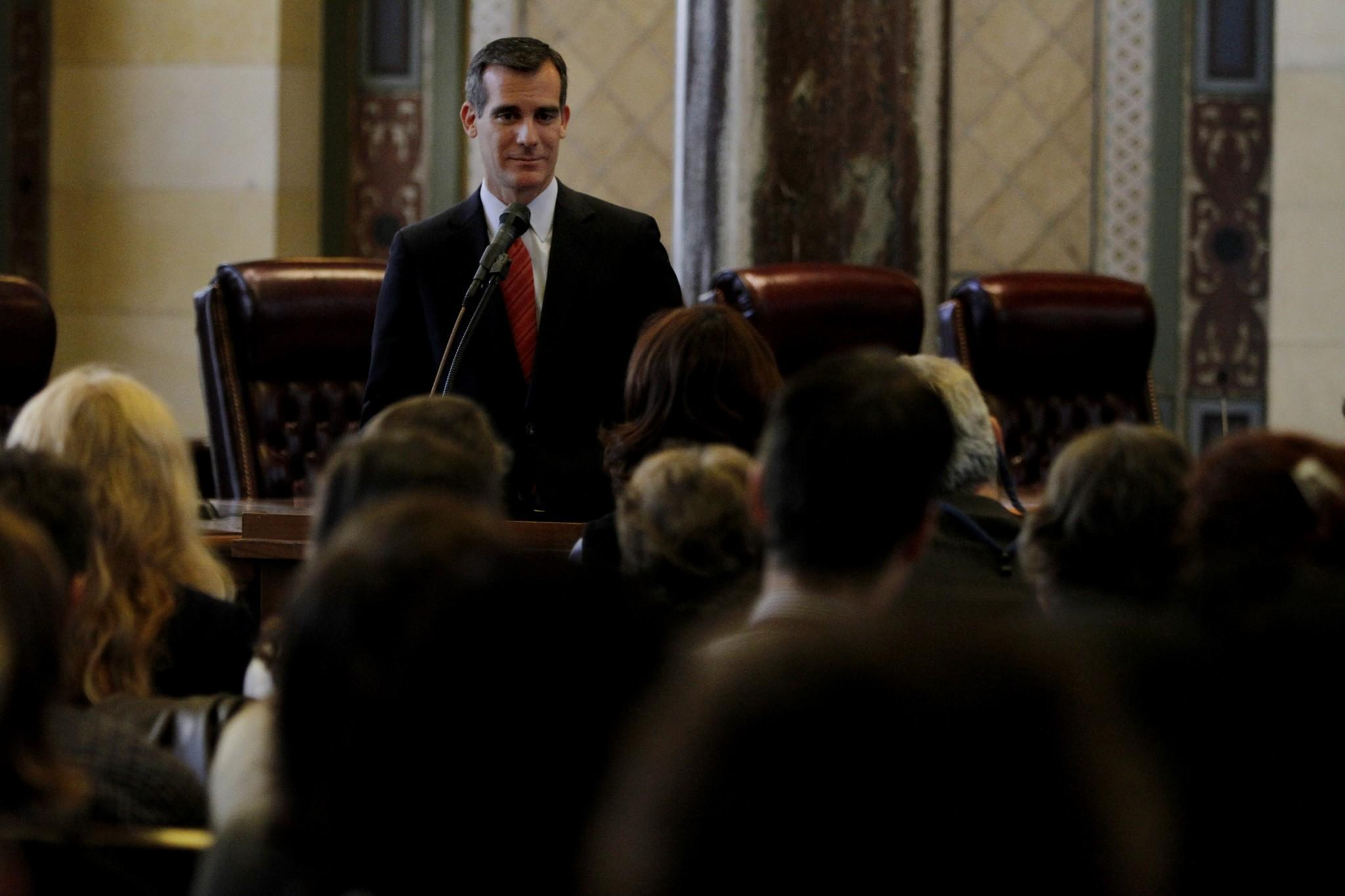 Los Angeles Mayor Eric Garcetti, speaking to arts leaders at City Hall in January, announced a new investigation of the Los Angeles Fire Department on Tuesday.