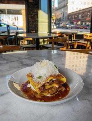 Osso Bucco Lasagna with Quark and Marjoram at the A10 restaurant in the Hyde Park neighborhood.