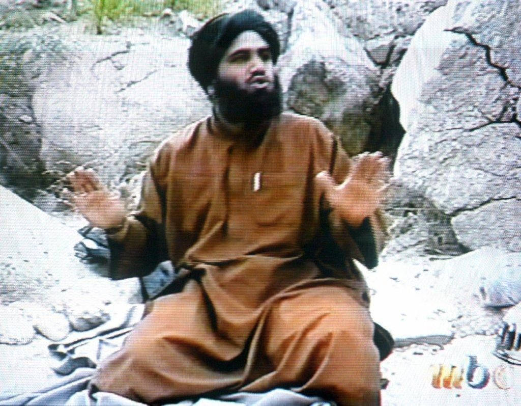 Sulaiman abu Ghaith is shown in a frame grab from a video made after the Sept. 11, 2001, attacks. Abu Ghaith is on trial in New York on charges of conspiring to kill U.S. citizens, and prosecutors say he was Osama bin Laden's chief spokesman.
