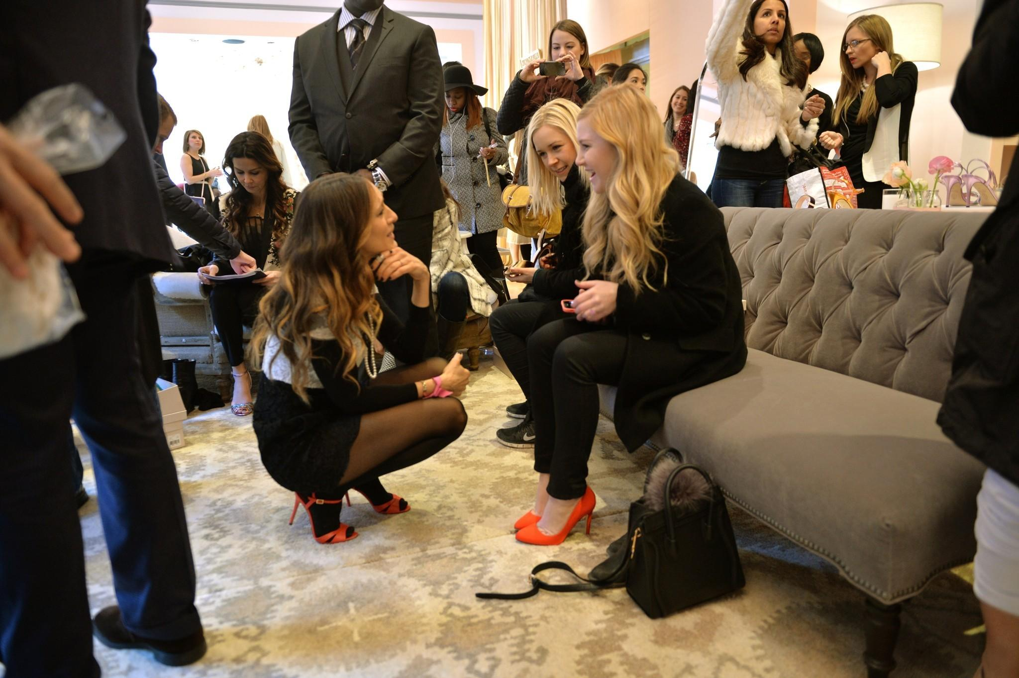 Sarah Jessica Parker introduces her new shoe collection SJP at the New York City Nordstrom pop-up shop in late February.