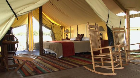"""Glamping"" tents with heating and air conditioning are available at Westgate River Ranch, a resort in Lake Wells, Fla. (Marjie Lambert/Miami Herald/MCT)"