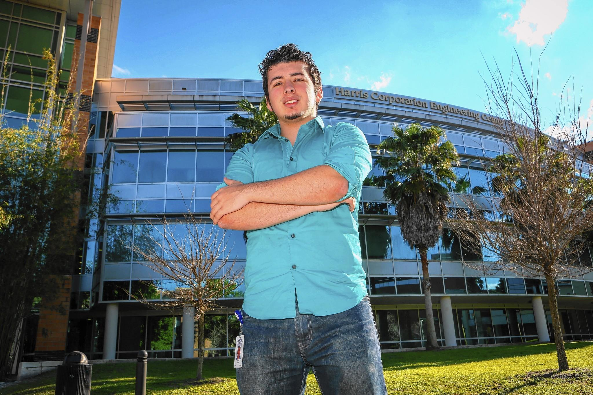 Alvaro Velasquez, poses for a photo outside the Harris Engineering Center Building on the University of Central Florida campus in Orlando, FLA. on Friday, February 28, 2014.