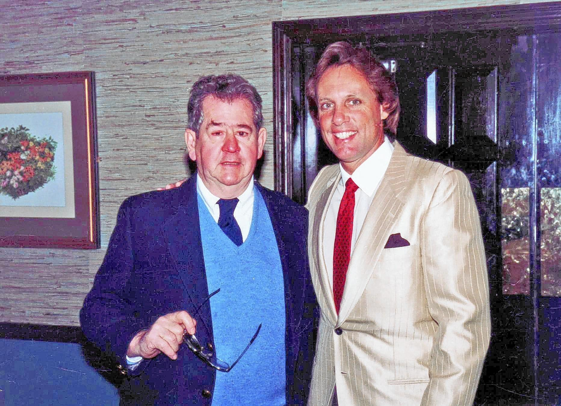 George Frost, left, with his godson Jay Johnstone, a former Major League Baseball player.