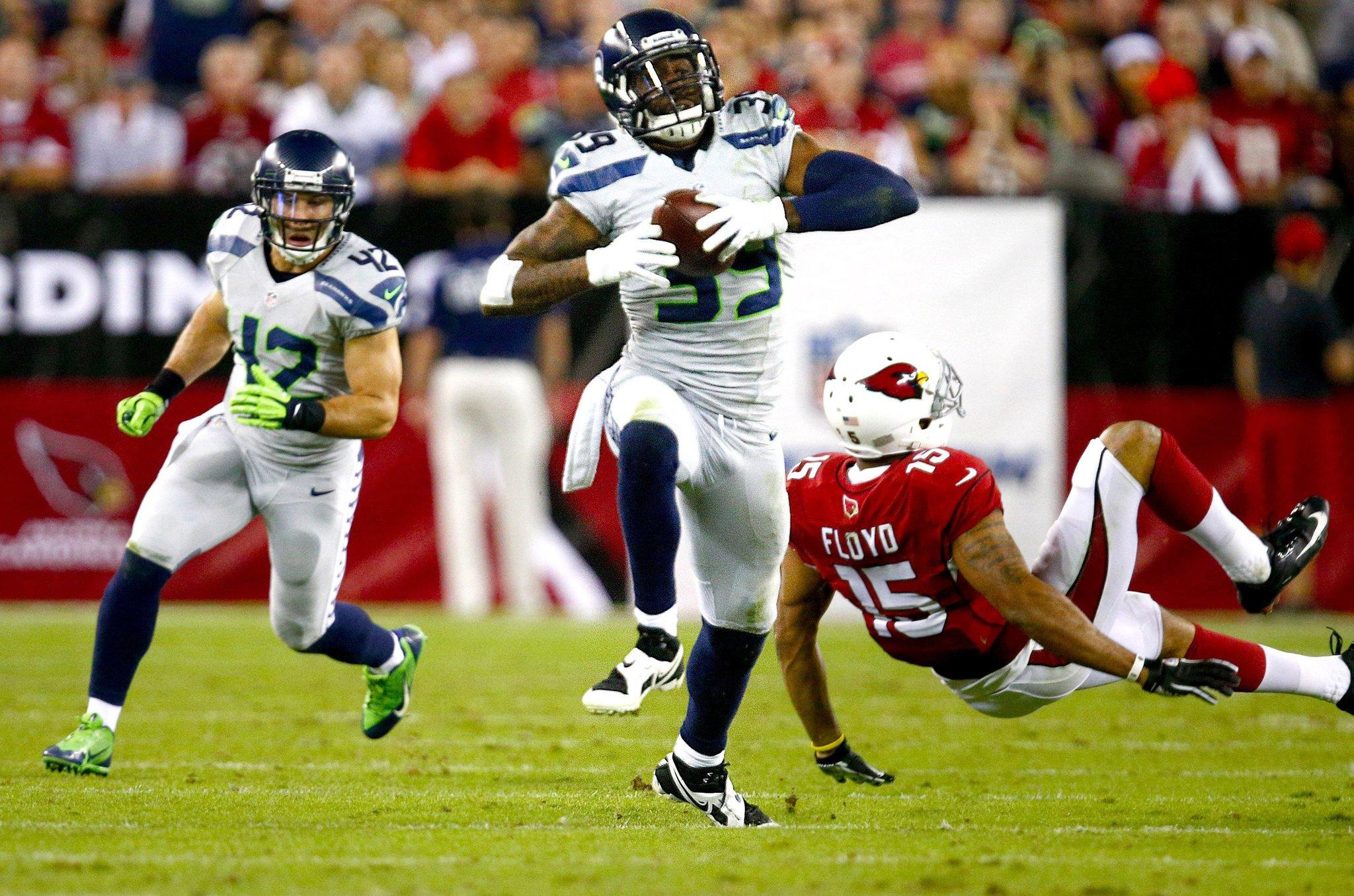 Seahawks cornerback Brandon Browner picks off a pass intended for Arizona Cardinals wide receiver Michael Floyd.