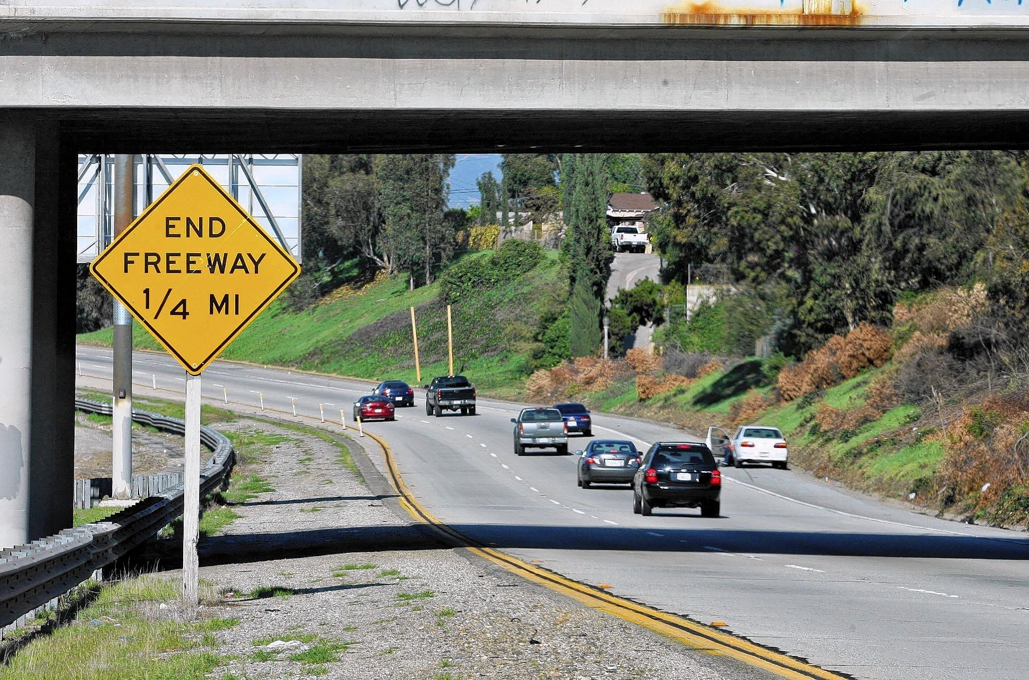 File Photo: The 710 Freeway ends at Valley Boulevard in Alhambra, on Thursday, Jan. 28, 2010.