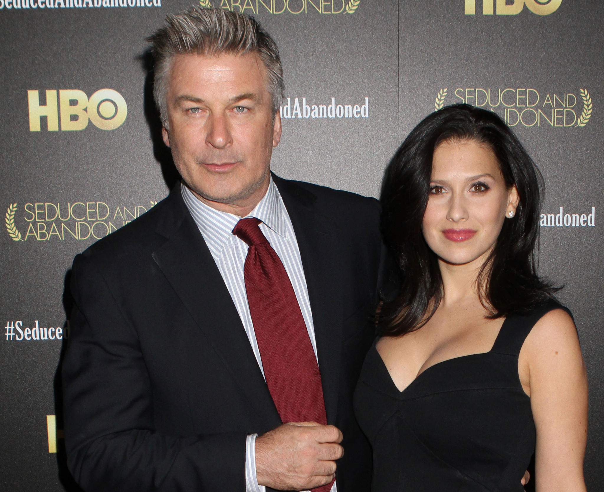 "Alec Baldwin and wife Hilaria Baldwin attend the HBO premiere of ""Seduced and Abandoned"" at The Time Warner Center in New York."