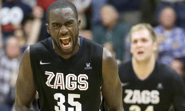 Gonzaga's Sam Dower celebrates after making a basket in a win over Santa Clara on Jan. 29. The Bulldogs are favored to win this season's West Coast Conference tournament in Las Vegas.