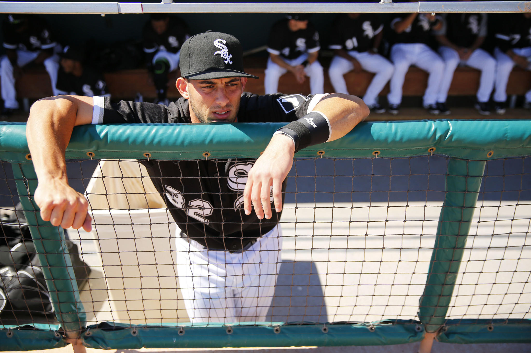 White Sox catcher Adrian Nieto in the dugout.