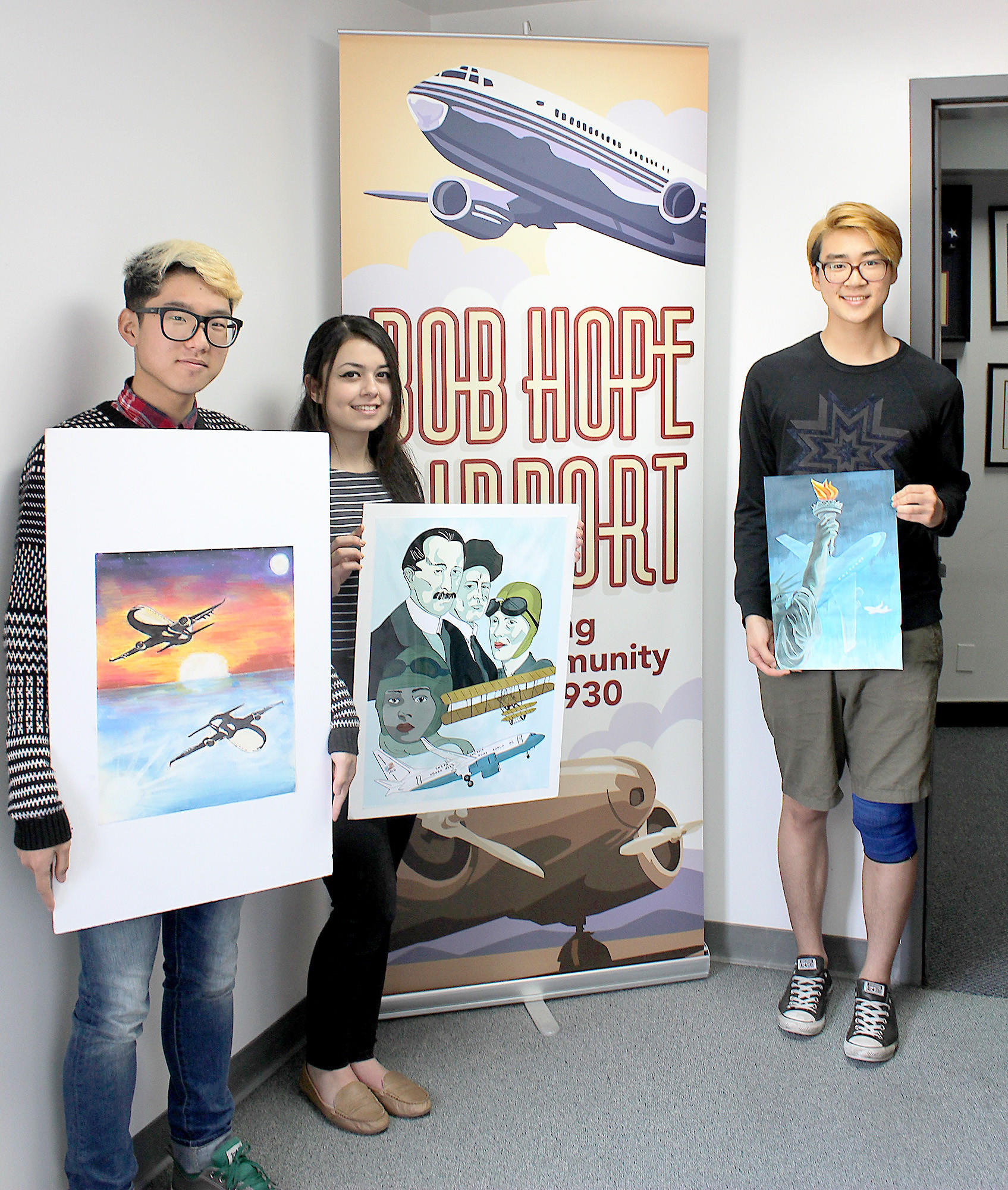 Glendale winners of the Bob Hope Airport's 2014 Tower Banner Student Art Contest are, from left, Hoover High junior JJ Junha Yoon, Clark Magnet High junior Varduhi Grigoryan and Crescenta Valley High senior Daniel Lee.