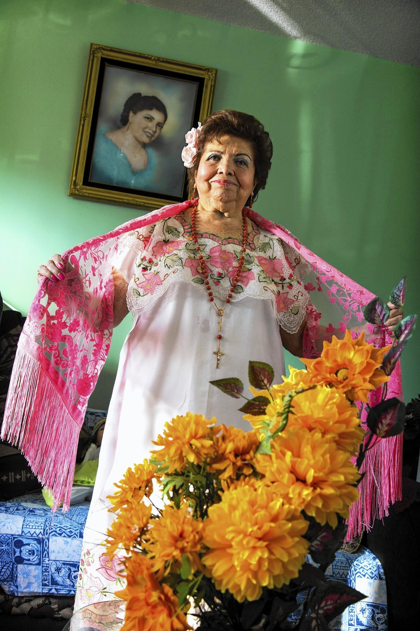 Francis Angulo, 83, spent 12 years performing with an all-female mariachi group formed in 1948. She is featured in an exhibit on female mariachis at the San Gabriel Mission Playhouse.