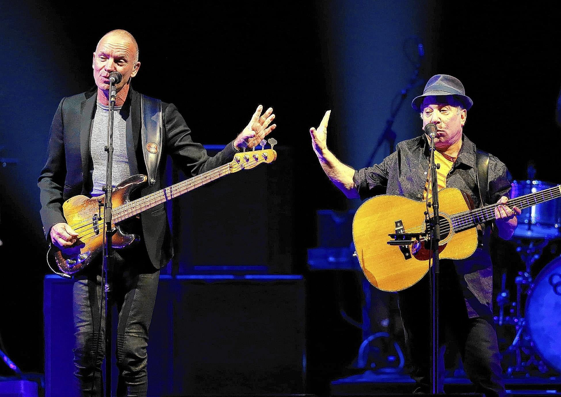 Sting (left) and Paul Simon performed at the Air Canada Centre March 1. The duo stops at the Wells Fargo Center in Philadelphia on Friday and Giant Center in Hershey on Sunday.