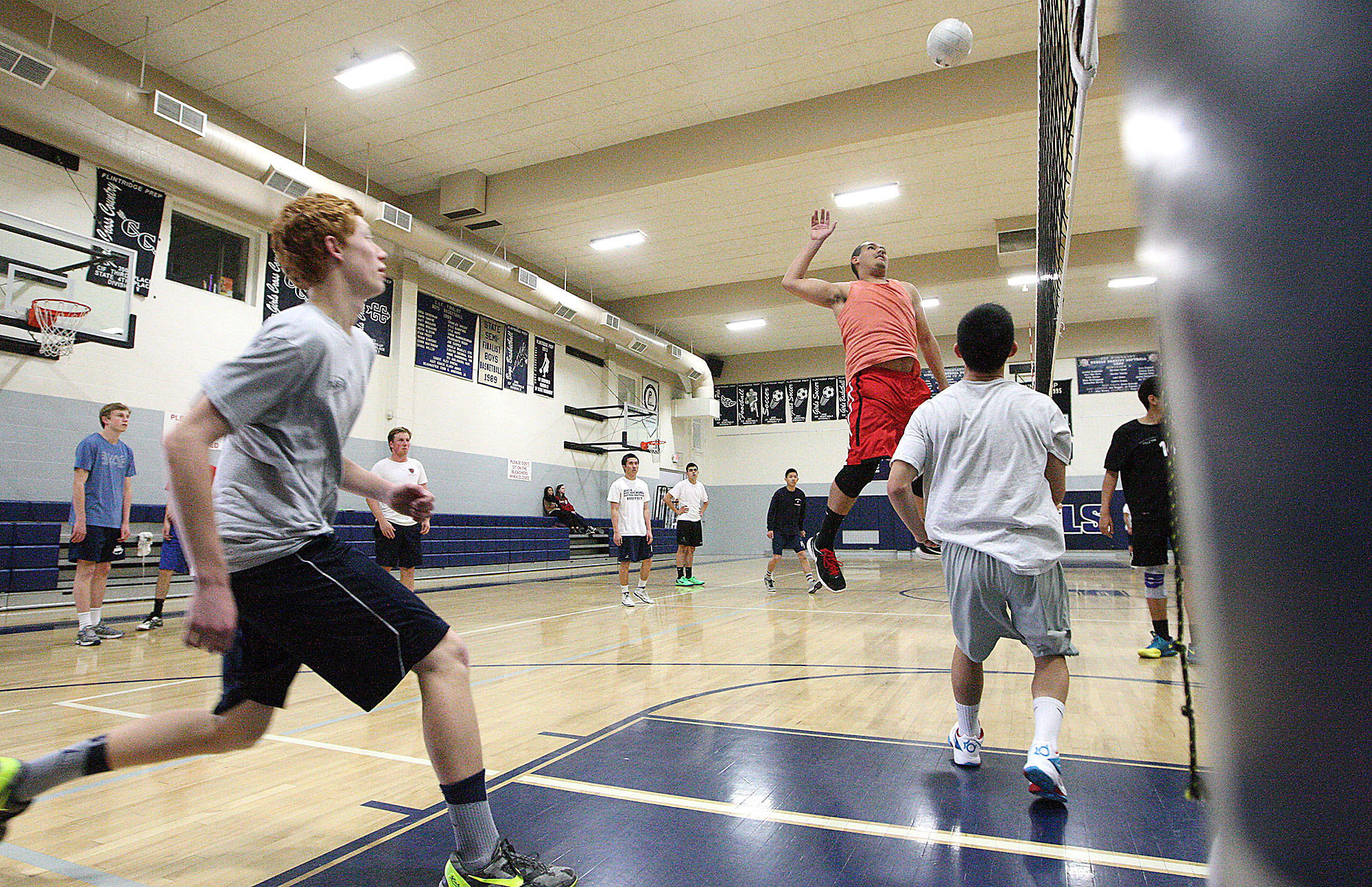 The Flintridge Prep boys' volleyball team works on setting and hitting during practice on Tuesday, February 25, 2014.