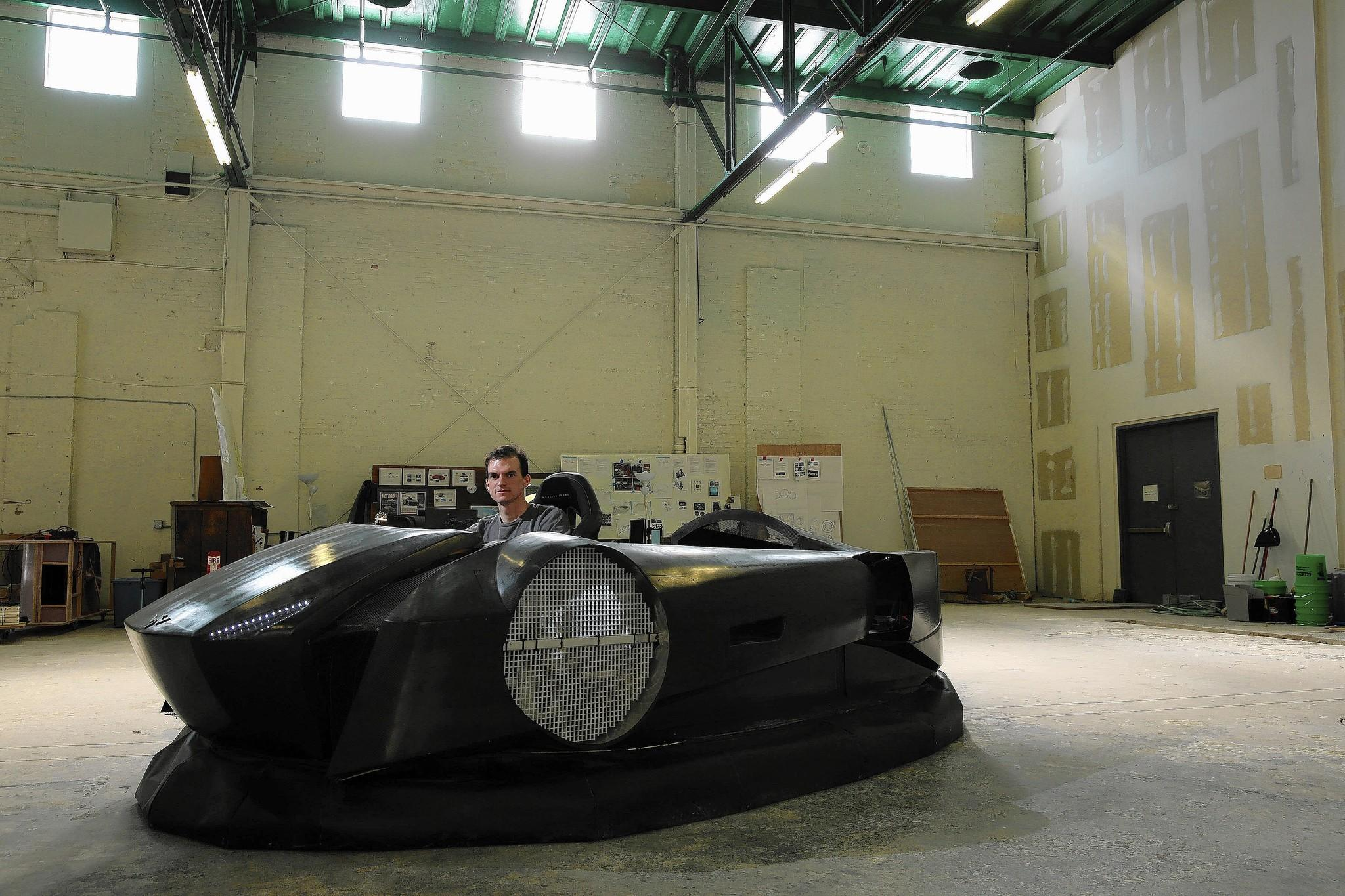 "Michael Mercier in his prototype hovercraft: ""The industry itself has been stuck on one path without much progress,"" Mercier said. ""I really wanted it to feel more like a supercraft, more like a sports car, than anything a conventional hovercraft would offer you."""