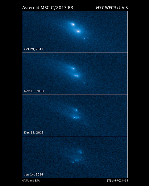 Disintegrating Asteroid P/2013 R3 imaged from the Hubble Space Telescope.