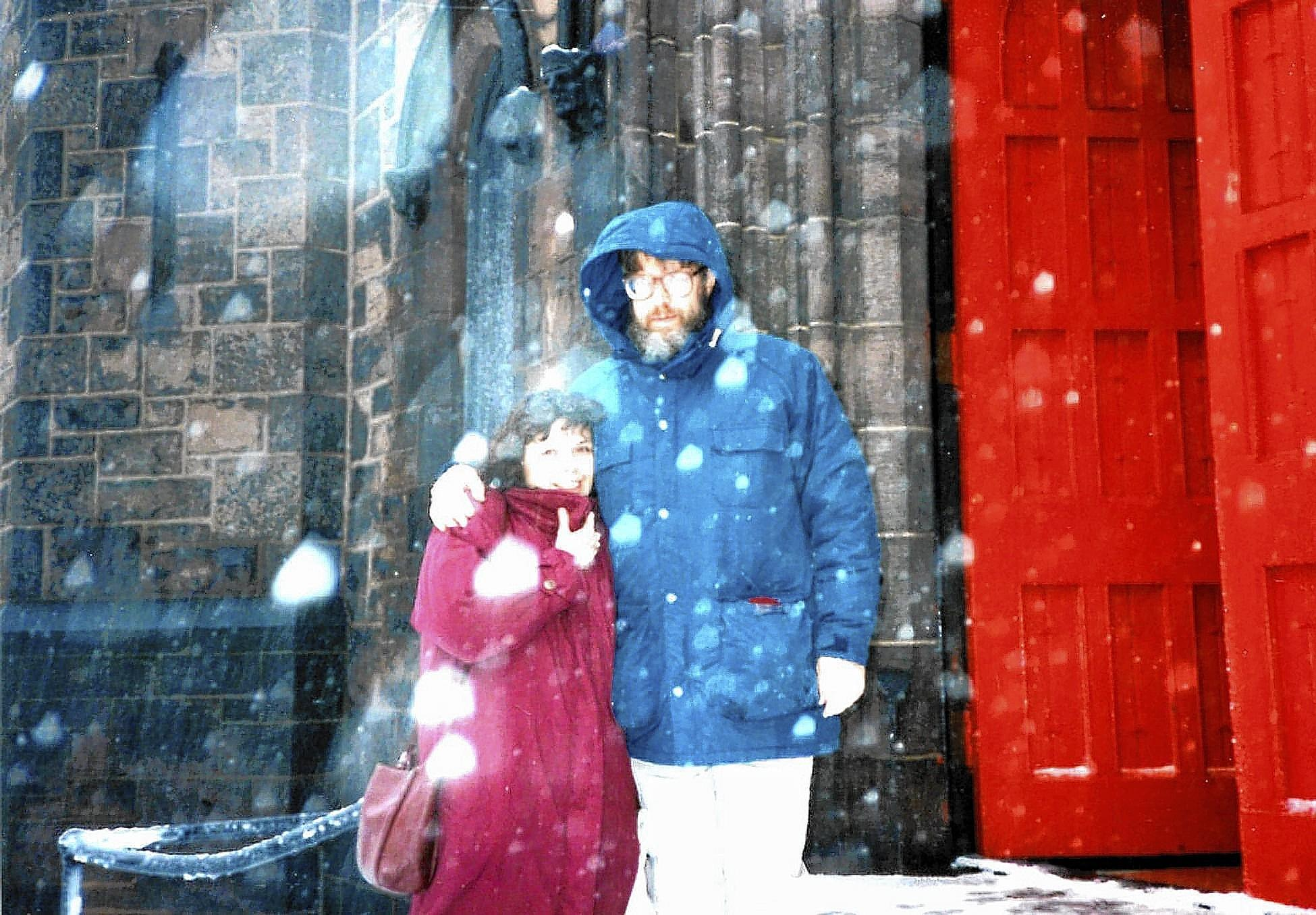 Linda Henry and Robert Phillips of Bethlehem stand outside Trinity Memorial Episcopal Church, Philadelphia, on their very snowy wedding day.