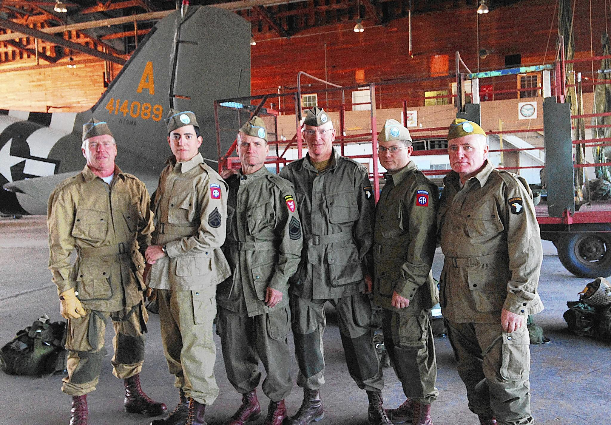 "David Clemens and William ""Bill"" Jones, former Army paratroopers and current civillian employees at Fort Eustis, attended the World War II Airbone Demonstration Team Foundation Jump School Jan. 17-26 in Oklahoma."