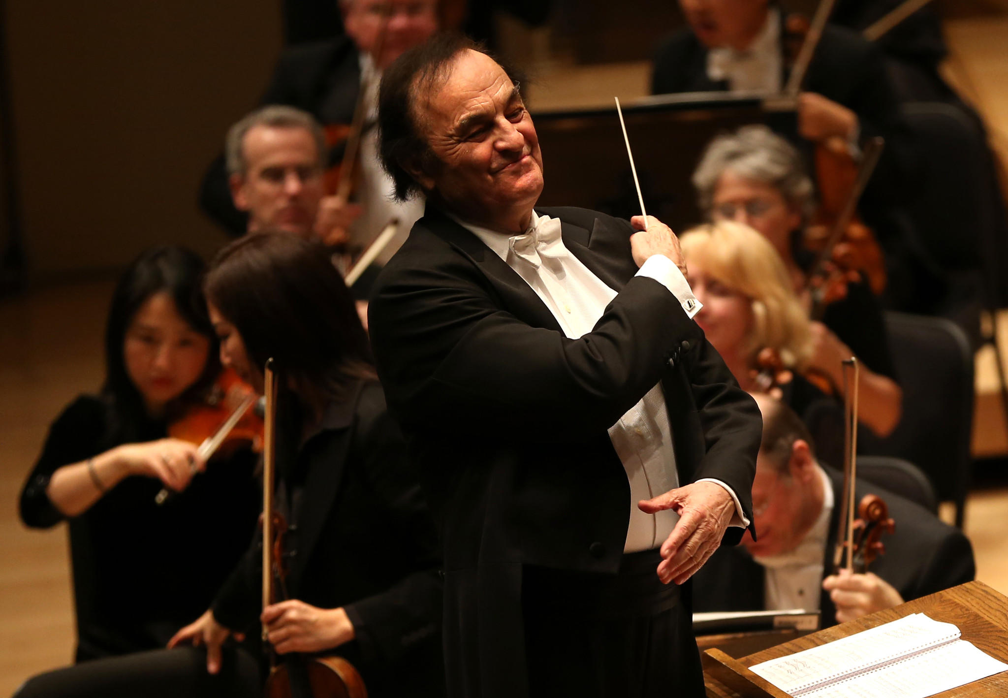 Conductor Charles Dutoit brings the Chicago Symphony Orchestra to a big finish at Symphony Center in this file photograph.