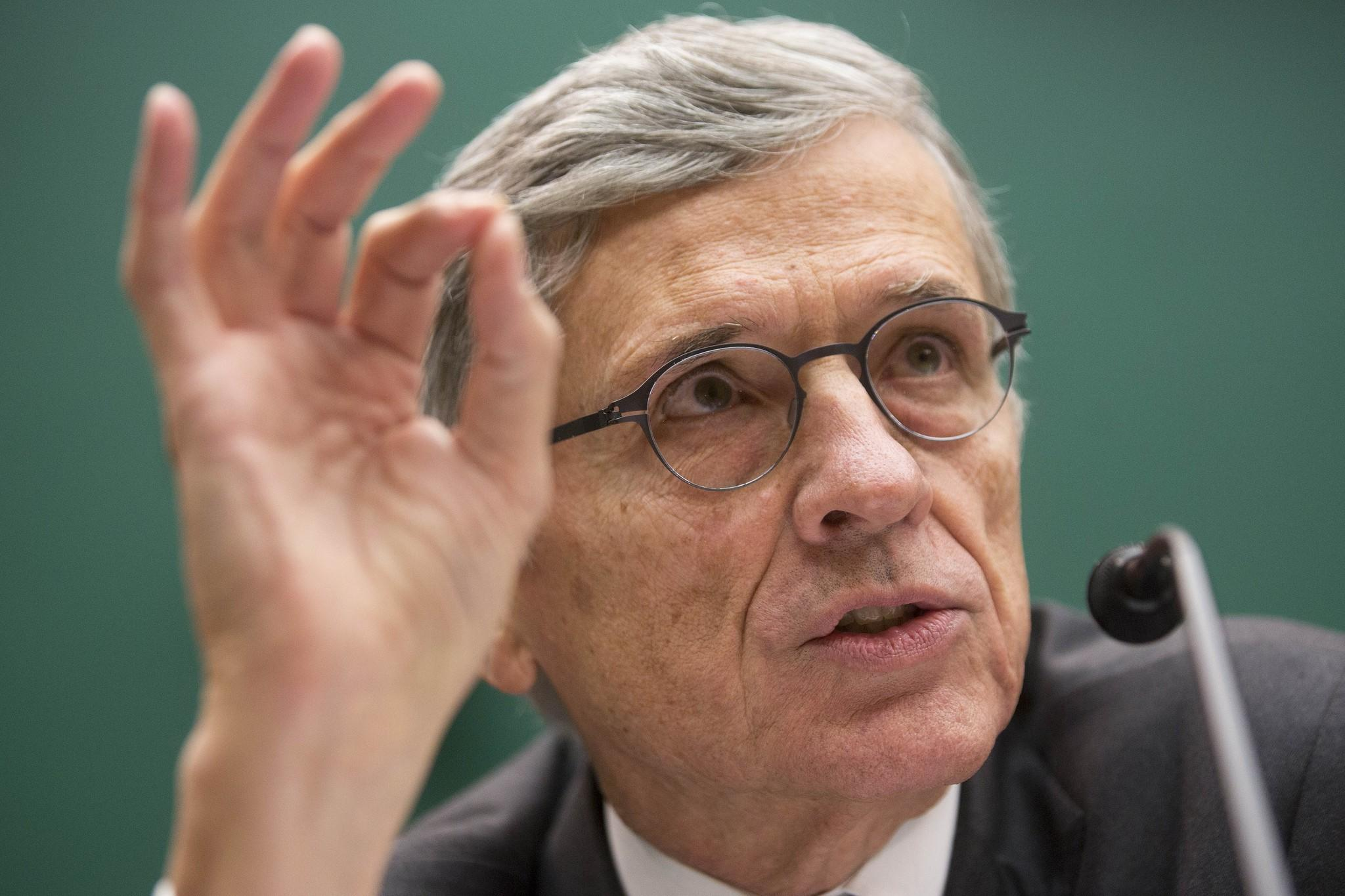 Federal Communications Commission Chairman Tom Wheeler speaks during a House subcommittee hearing in Washington.