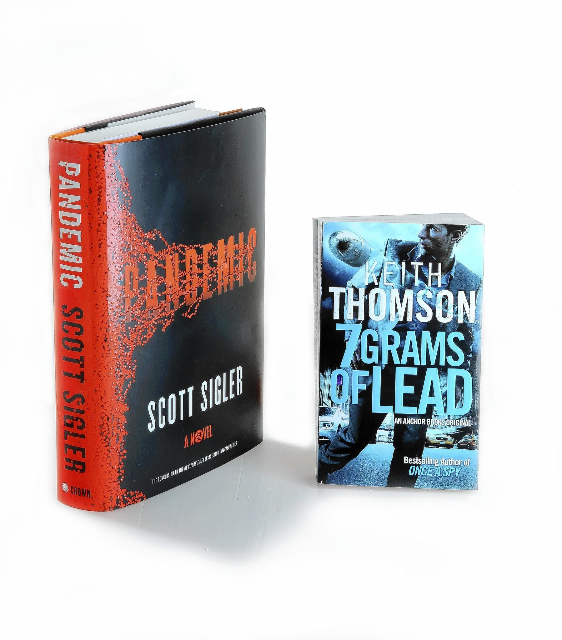 """Pandemic"" by Scott Sigler and ""7 Grams of Lead"" by Keith Thomson"