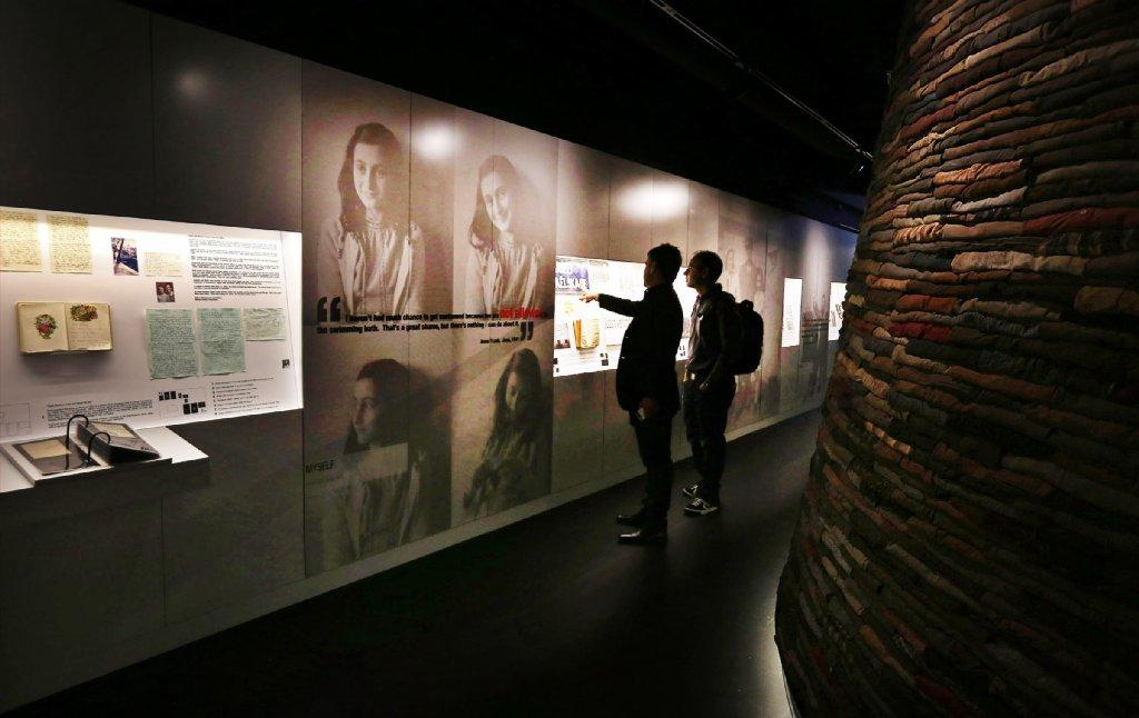 Israeli Prime Minister Benjamin Netanyahu was scheduled Thursday to visit the Museum of Tolerance in Los Angeles. Above, a permanent exhibition at the museum focuses on the life of Anne Frank.