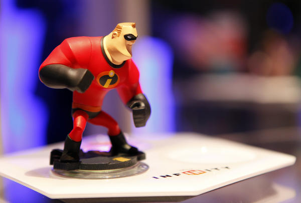 "A Mr. Incredible action figure from the video game ""Disney Infinity."""