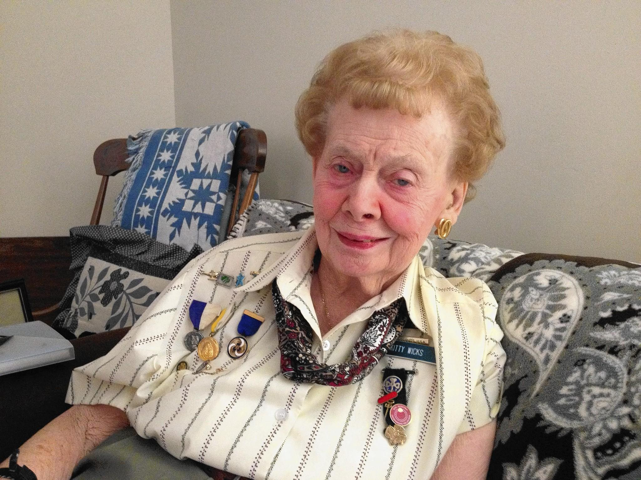 Kitty Wicks, 93, has been involved with the Girl Scouts in Manchester for 53 years. She still participates in activities throughout the year.